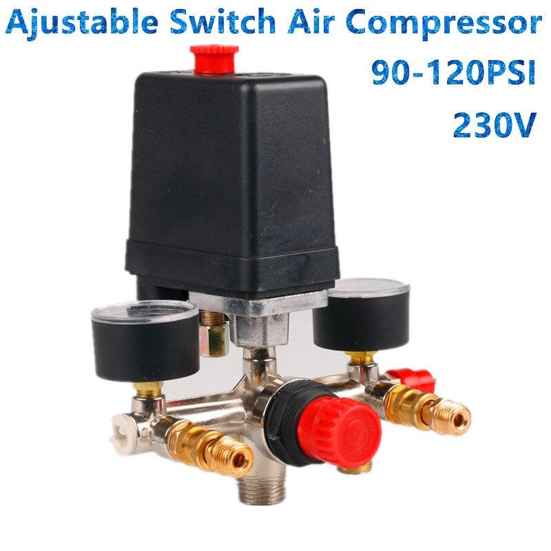 Air Compressor Pressure Valve Switch Manifold Relief Regulator Gauges 90-120PSI 230-220V Aluminum alloy bracket